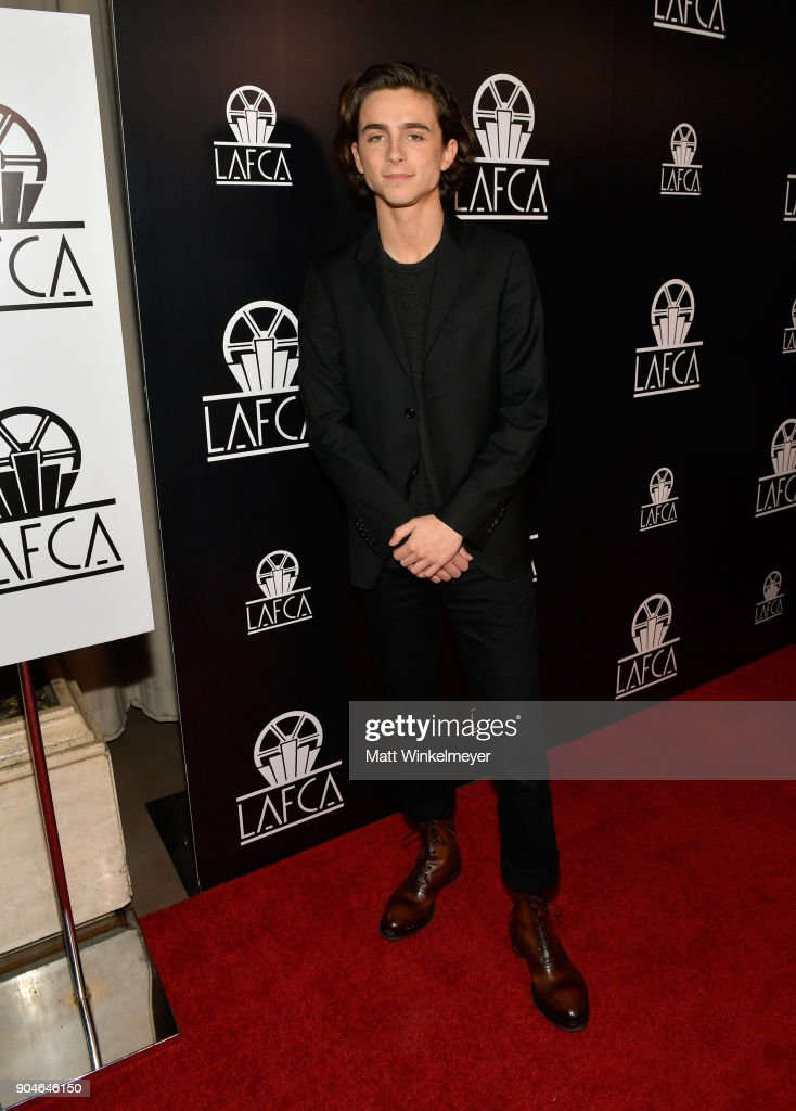 Timothee Chalamet attends the 43rd Annual Los Angeles Film Critics Association Awards on January 13, 2018 in Los Angeles, California.