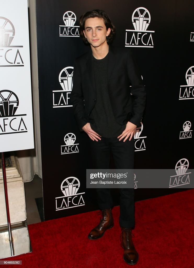 Timothee Chalamet attends the 43rd Annual Los Angeles Film Critics Association Awards on January 13, 2018 in Hollywood, California.