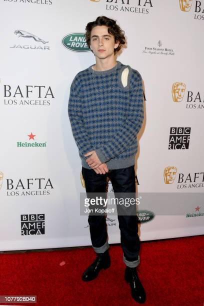 Timothee Chalamet attends The BAFTA Los Angeles Tea Party at Four Seasons Hotel Los Angeles at Beverly Hills on January 5 2019 in Los Angeles...