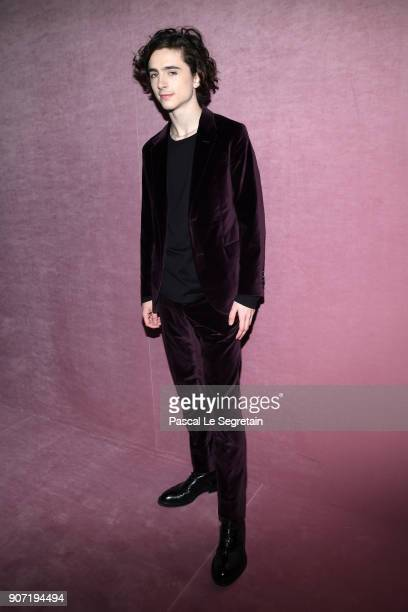 Timothee Chalamet attends the Berluti Menswear Fall/Winter 20182019 show as part of Paris Fashion Week on January 19 2018 in Paris France