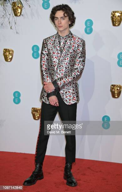 Timothee Chalamet attends the EE British Academy Film Awards at Royal Albert Hall on February 10 2019 in London England