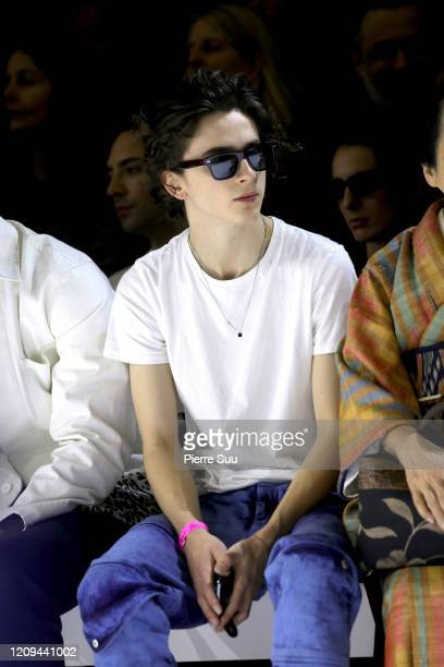 Timothee Chalamet attends the Haider Ackermann show as part of the Paris Fashion Week Womenswear Fall/Winter 2020/2021 on February 29 2020 in Paris...