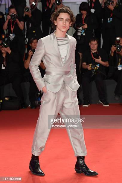 """Timothee Chalamet attends """"The King"""" red carpet during the 76th Venice Film Festival at Sala Grande on September 02, 2019 in Venice, Italy."""