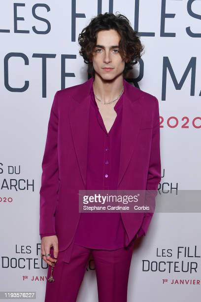 "Timothee Chalamet attends the ""Little Women"" Premiere at Cinema Gaumont Marignan on December 12, 2019 in Paris, France."
