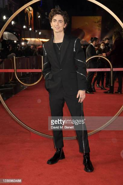 """Timothee Chalamet attends the UK Special Screening of """"Dune"""" at the Odeon Luxe Leicester Square on October 18, 2021 in London, England."""