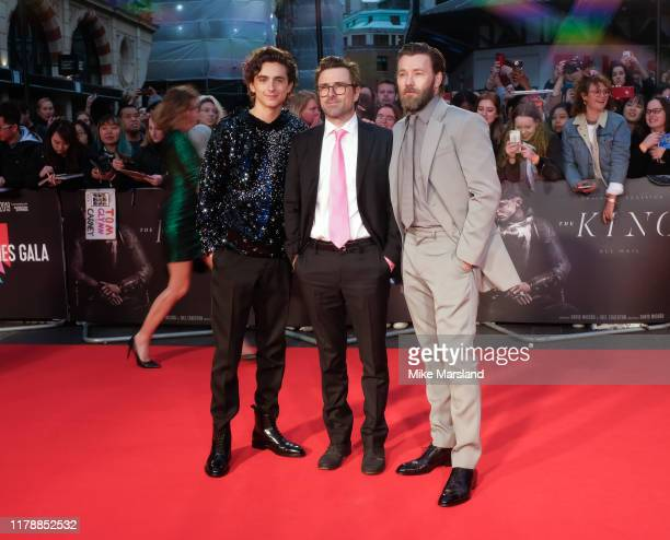 "Timothee Chalamet, David Michod and Joel Edgerton attend ""The King"" UK Premiere during the 63rd BFI London Film Festival at Odeon Luxe Leicester..."