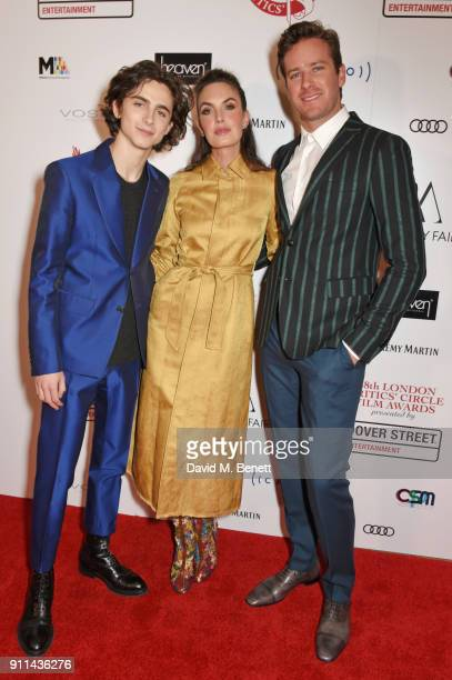 Timothee Chalamet Elizabeth Chambers and Armie Hammer attend the London Film Critics' Circle Awards 2018 at The May Fair Hotel on January 28 2018 in...