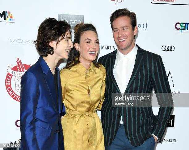 Timothee Chalamet Elizabeth Chambers and Armie Hammer attend the London Film Critics Circle Awards 2018 at The May Fair Hotel on January 28 2018 in...