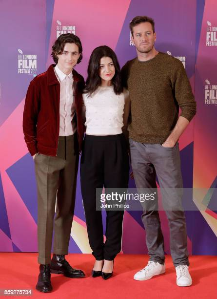Timothee Chalamet Esther Garrel and Armie Hammer attend a photocall for 'Call Me By Your Name' during the 61st BFI London Film Festival on October 9...