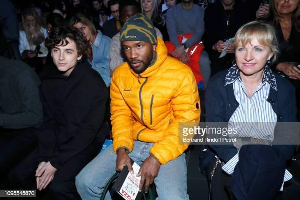 Timothee Chalamet, Frank Ocean and Brigitte Burke attend the Louis Vuitton Menswear Fall/Winter 2019-2020 show as part of Paris Fashion Week on...
