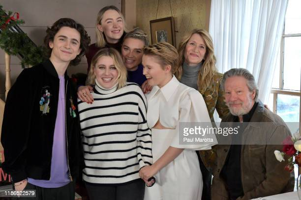 Timothee Chalamet Greta Gerwig Saoirse Ronan Florence Pugh Eliza Scanlan Laura Dern and Chris Cooper attend the 'Little Women Orchard House photo...