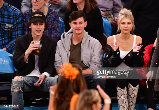 Timothee Chalamet guest and Charlotte McKinney attend Detroit Pistons v New York Knicks game at Madison Square Garden on February 5 2019 in New York...