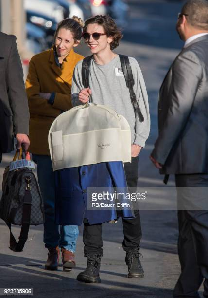 Timothee Chalamet is seen at 'Jimmy Kimmel Live' on February 22 2018 in Los Angeles California