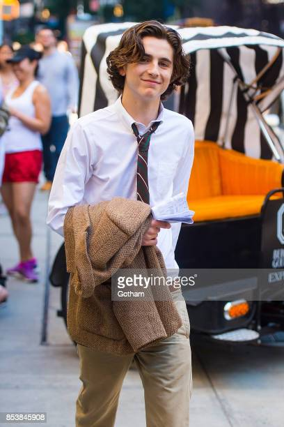 Timothee Chalamet is seen filming a Woody Allen film in the Upper East Side on September 25 2017 in New York City