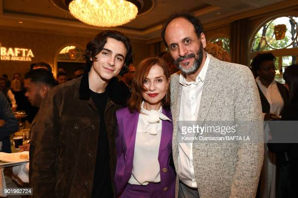 Timothee Chalamet Isabelle Huppert and Luca Guadagnino attend The BAFTA Los Angeles Tea Party at Four Seasons Hotel Los Angeles at Beverly Hills on...