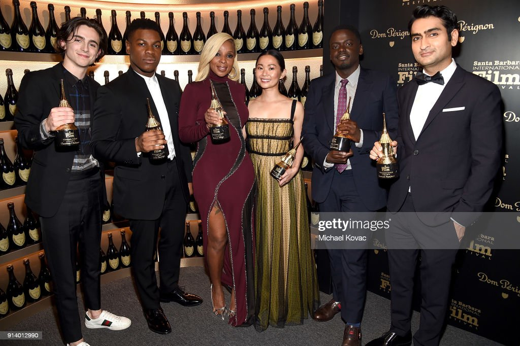 Timothee Chalamet, John Boyega, Mary J. Blige, Hong Chau, Daniel Kaluuya, and Kumail Nanjiani visit the Dom Perignon Lounge after receiving the Virtuosos Award at The Santa Barbara International Film Festival on February 3, 2018 in Santa Barbara, California.