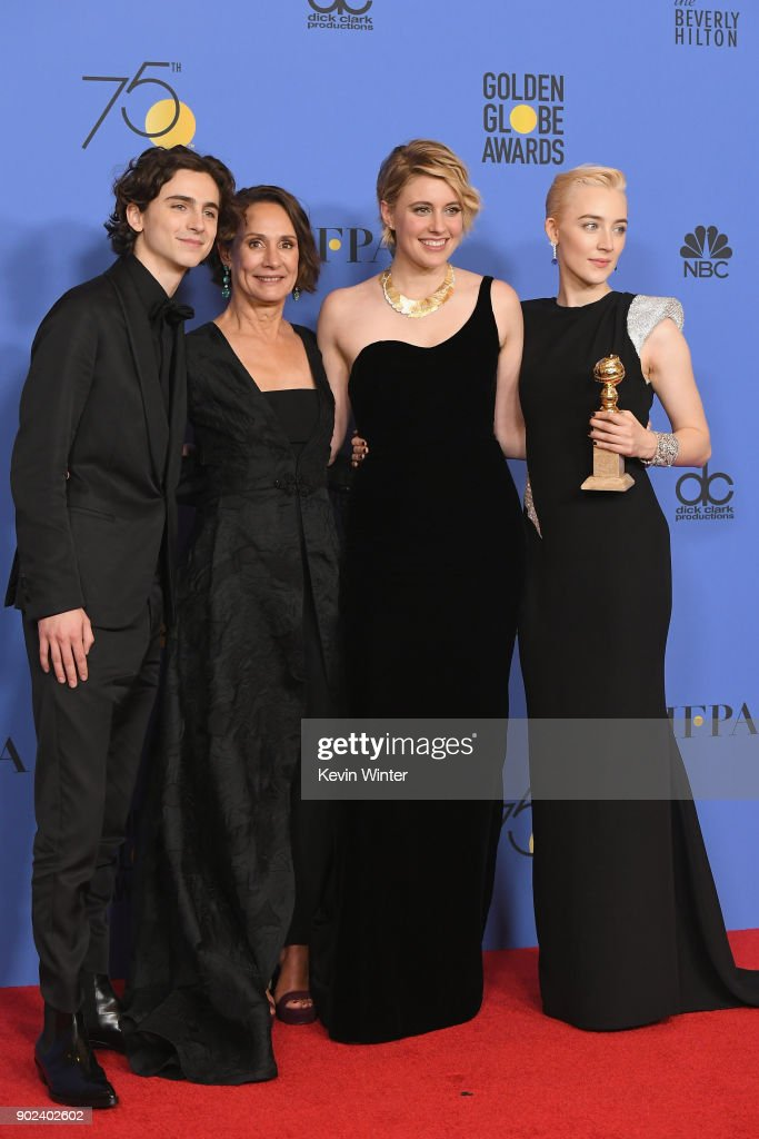Timothee Chalamet, Laurie Metcalf, Greta Gerwig and Saoirse Ronan poses with the award for Best Motion Picture Musical or Comedy in 'Lady Bird' in the press room during The 75th Annual Golden Globe Awards at The Beverly Hilton Hotel on January 7, 2018 in Beverly Hills, California.