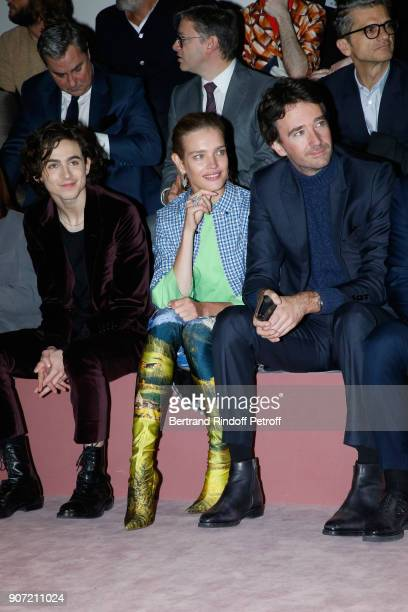 Timothee Chalamet Natalia Vodianova and General manager of Berluti Antoine Arnault attend the Berluti Menswear Fall/Winter 20182019 show as part of...