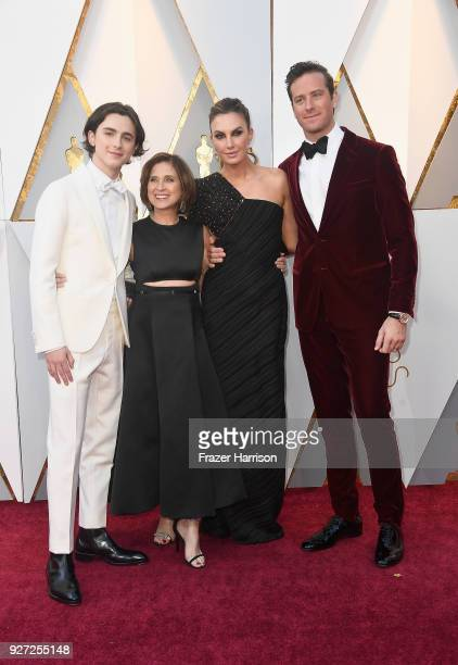 Timothee Chalamet Nicole Flender Elizabeth Chambers and Armie Hammer attend the 90th Annual Academy Awards at Hollywood Highland Center on March 4...