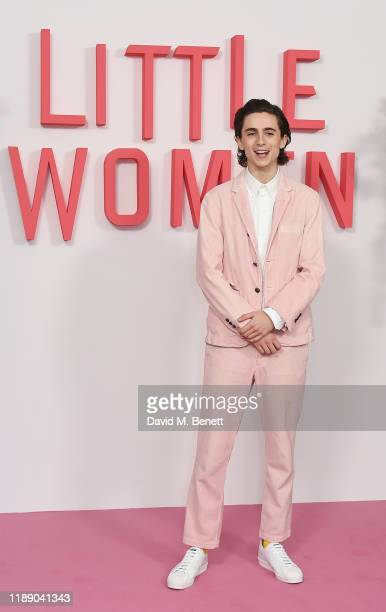 Timothee Chalamet poses at the evening photocall for Little Women at The Soho Hotel London on December 16 2019 in London England
