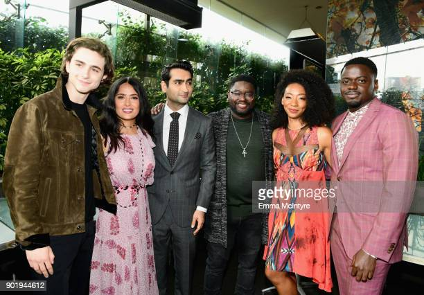 Timothee Chalamet, Salma Hayek, Kumail Nanjiani, Lil Rel Howery, Betty Gabriel and Daniel Kaluuya attend the Film Independent Spirit Awards Nominee...