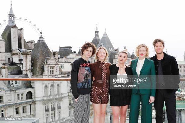 Timothee Chalamet Saoirse Ronan Florence Pugh Greta Gerwig and James Norton pose at a morning photocall for Little Women at the Corinthia Hotel...