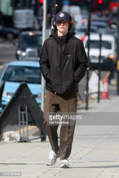 Timothee Chalamet seen walking in Notting Hill on March 16, 2020 in London, England.