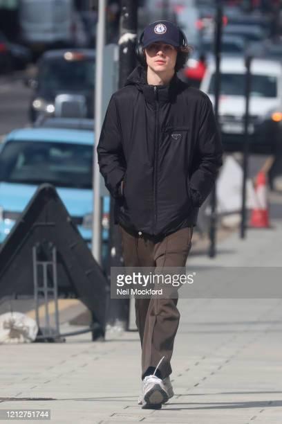 Timothee Chalamet seen walking in Notting Hill on March 16 2020 in London England