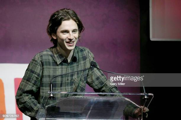 Timothee Chalamet speaks during the 2018 Texas Film Awards at AFS Cinema on March 8 2018 in Austin Texas