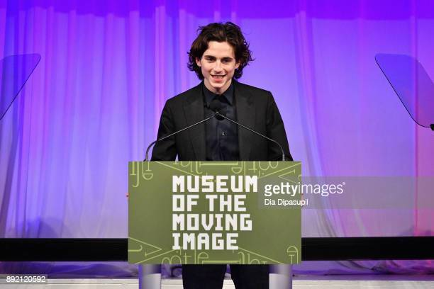 Timothee Chalamet speaks onstage during the Museum of the Moving Image Salute to Annette Bening at 583 Park Avenue on December 13 2017 in New York...