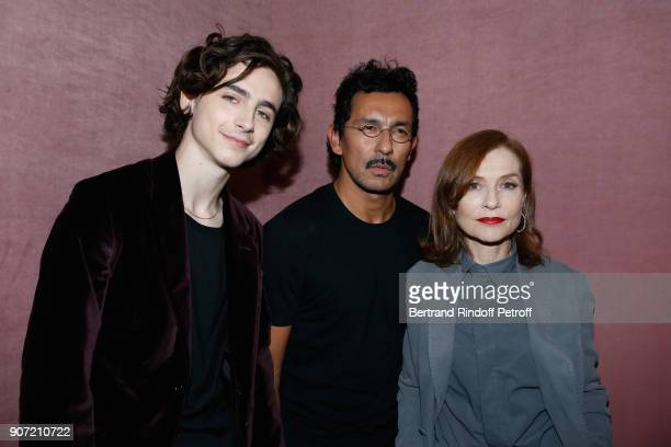 Timothee Chalamet Stylist of Berluti men Haider Ackermann and Isabelle Huppert pose after the Berluti Menswear Fall/Winter 20182019 show as part of...