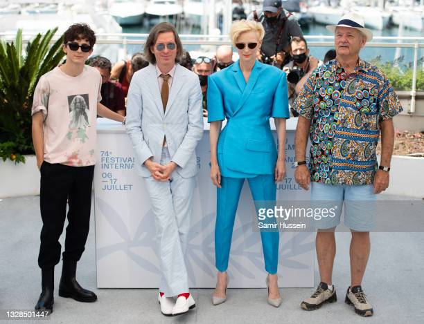 """Timothee Chalamet, Wes Anderson, Tilda Swinton and Bill Murray attend the """"The French Dispatch"""" photocall during the 74th annual Cannes Film Festival..."""