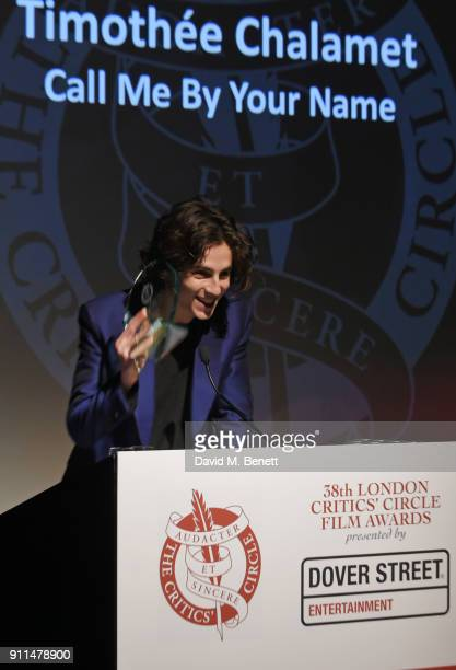 Timothee Chalamet winner of the Actor of the Year award for Call Me By Your Name attends the London Film Critics' Circle Awards 2018 at The May Fair...