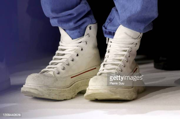 Timothee Chalametshoe detail attend the Haider Ackermann show as part of the Paris Fashion Week Womenswear Fall/Winter 2020/2021 on February 29 2020...