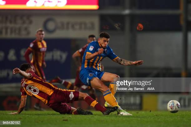 Timothee Dieng of Bradford City and Ben Godfrey of Shrewsbury Town during the Sky Bet League One match between Bradford City and Shrewsbury Town at...