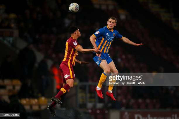Timothee Dieng of Bradford City and Bryn Morris of Shrewsbury Town during the Sky Bet League One match between Bradford City and Shrewsbury Town at...