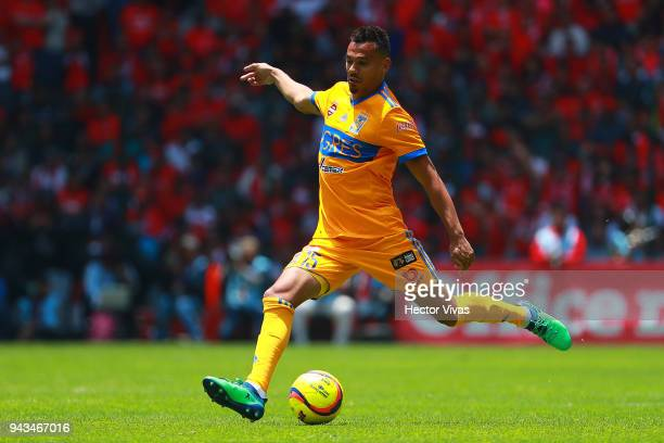 Timothee Kolodziedjczak of Tigres kicks the ball during the 14th round match between Toluca and Tigres UANL as part of the Torneo Clausura 2018 at...
