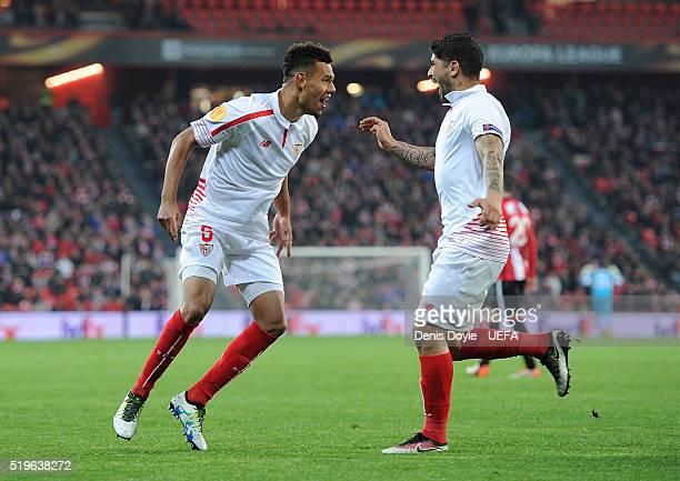 Timothee Kolodziejczak of Sevilla FC celebrates after scoring his team's opening goal during the UEFA Europa League Quarter Final First Leg match...