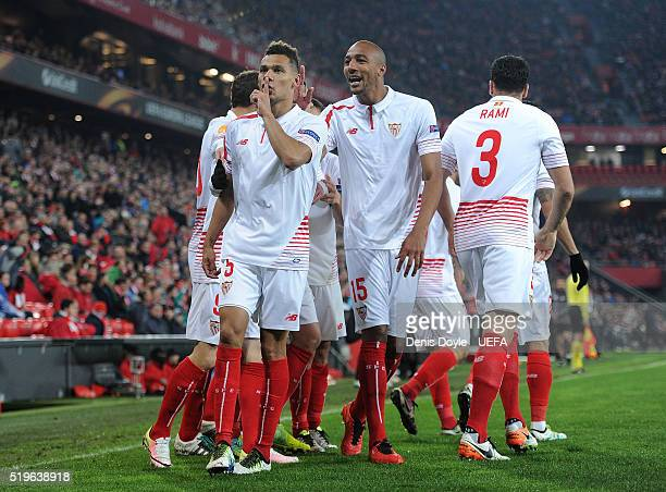 Timothee Kolodziejczak of Sevilla FC celebrates with Steven N'Zonzi after scoring his team's opening goal during the UEFA Europa League Quarter Final...