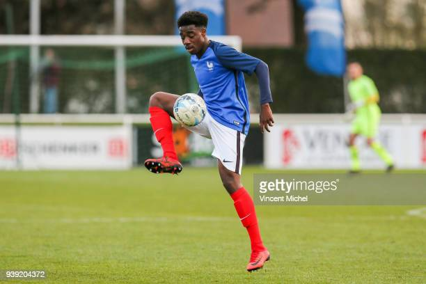 Timothee Pembele of France during the Mondial Montaigu match between France U16 and Portugal U16 on March 27 2018 in Montaigu France
