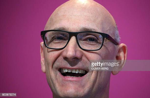 Timotheus Hoettges chairman of German telecommunications giant Deutsche Telekom speaks during his company's annual press conference on February 22...
