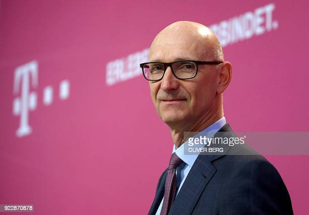 Timotheus Hoettges chairman of German telecommunications giant Deutsche Telekom poses prior to his company's annual press conference on February 22...