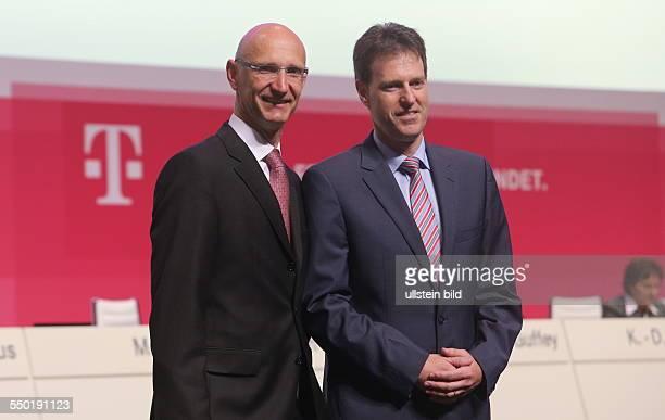 Timotheus Hoettges und Thomas Dannenfeldt Deutsche Telekom Hauptversammlung Lanxess Arena
