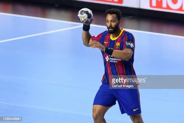 Timothey N'Guessan of FC Barcelona controls the ball during the VELUX EHF Champions League FINAL4 final match between FC Barcelona and Aalborg...