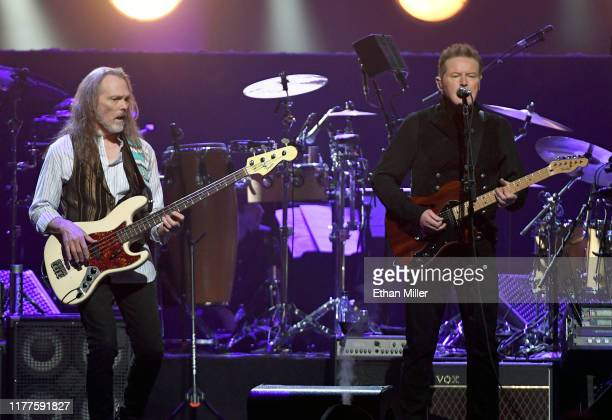 Timothy B Schmit and Don Henley of the Eagles perform at MGM Grand Garden Arena on September 27 2019 in Las Vegas Nevada