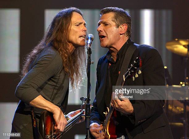 Timothy B Schmit and Glenn Frey during The Eagles and Dixie Chicks Benefit for Recording Artists Coalition at MCI Center in Washington DC United...