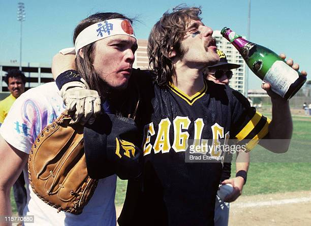 Timothy B Schmit and Glenn Frey of Eagles at Day On The Green concert featuring Eagles at Oakland Coliseum May 28 1977 in Oakland...