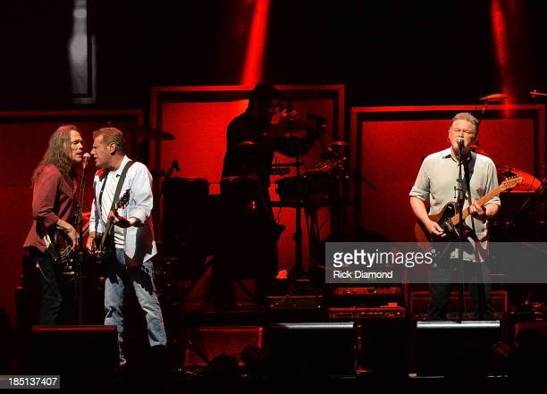 Timothy B. Schmit, Glen Frey and Don Henley of the Eagles perform at the Bridgestone Arena on October 16, 2013 in Nashville, Tennessee.