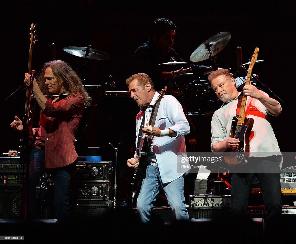 Timothy B. Schmit, Glen Frey and Don Henley of the Eagles perform during 'History Of The Eagles Live In Concert' at the Bridgestone Arena on October 16, 2013 in Nashville, Tennessee.