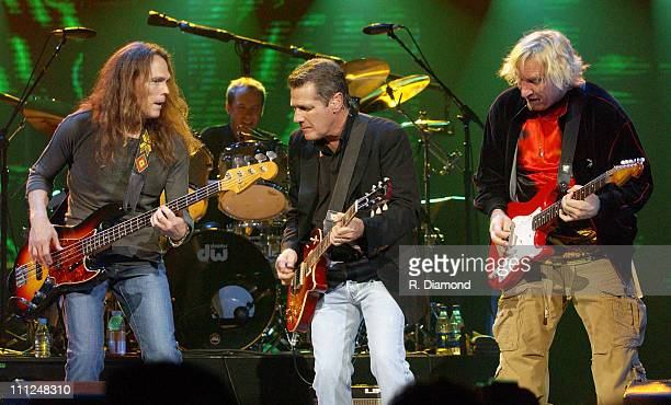 Timothy B Schmit Glenn Frey and Joe Walsh during The Eagles and Dixie Chicks Benefit for Recording Artists Coalition at MCI Center in Washington DC...
